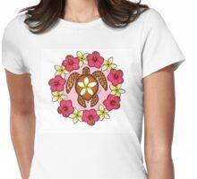 Plumeria Turtle Womens Fitted T-Shirt