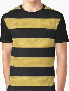 Elegant Black & Gold Stripe Graphic T-Shirt