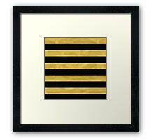 Elegant Black & Gold Stripe Framed Print