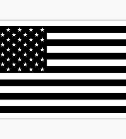 Black and White US Flag Sticker