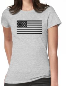 Black and White US Flag Womens Fitted T-Shirt