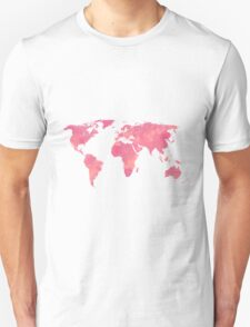 Pink Water Color World Map Unisex T-Shirt