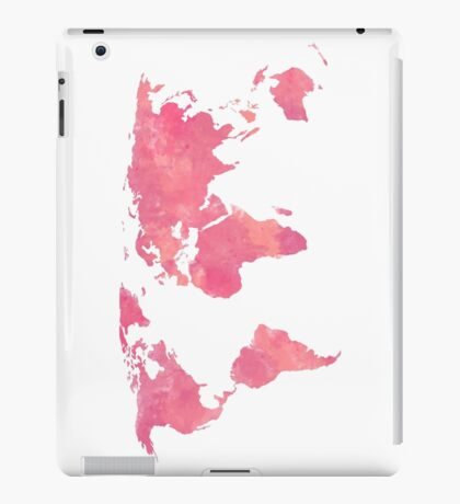 Pink Water Color World Map iPad Case/Skin
