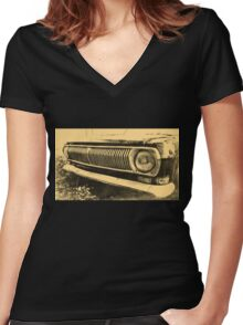 Vintage Old Classic Car Headlight Women's Fitted V-Neck T-Shirt