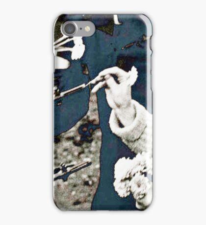 Flowers in Guns Blue Shade iPhone Case/Skin