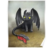 Toothless Dragon inspired from How To train Your Dragon. Poster