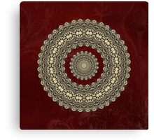 Gold Circle on Royal red Background Canvas Print
