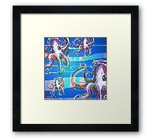 octopus invasion cartoon style illustration Framed Print