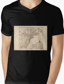 American Revolutionary War Era Maps 1750-1786 949 The United States of America with the British possessions of Canada Nova Scotia New Brunswick and Mens V-Neck T-Shirt
