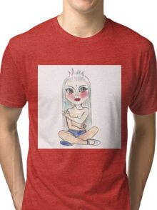 Hand drawn illustration of cartoon yoga girl in lotus position. Tri-blend T-Shirt