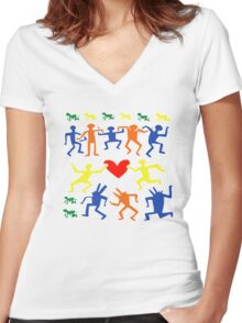 Keith Haring Love Dance Women's Fitted V-Neck T-Shirt