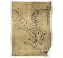 057  Outline map of eastern Virginia and the Chesapeake Bay region Poster