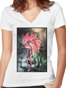 Robot Angel Painting 017 Women's Fitted V-Neck T-Shirt