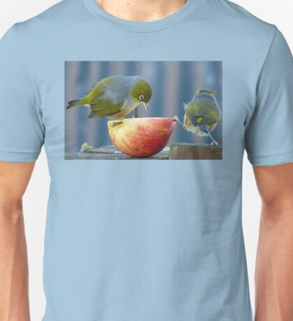 Holding the Apple Up! - Wax Eye NZ - Southland Unisex T-Shirt