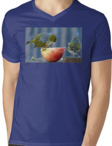 Holding the Apple Up! - Wax Eye NZ - Southland Mens V-Neck T-Shirt