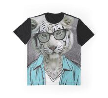 Hipster White Tiger Graphic T-Shirt