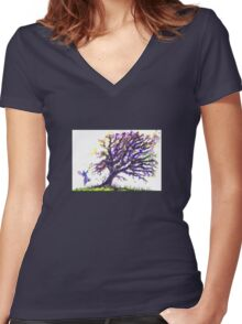 Fairy Dust Tree Women's Fitted V-Neck T-Shirt