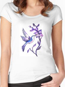 Shades of Purple - Humming Bird Women's Fitted Scoop T-Shirt