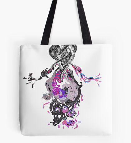Psychedelic Ink Octopus Black Watercolor Tote Bag