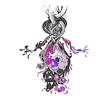Psychedelic Ink Octopus Black Watercolor Photographic Print