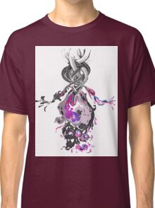 Psychedelic Ink Octopus Black Watercolor Classic T-Shirt