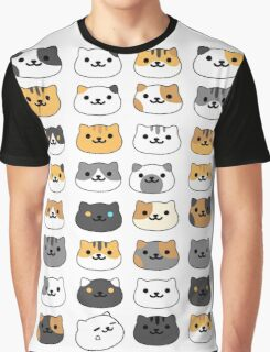 Neko atsume - cat collector faces Graphic T-Shirt
