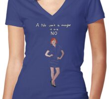 A no isn't a maybe - it is a NO (version 1) Women's Fitted V-Neck T-Shirt