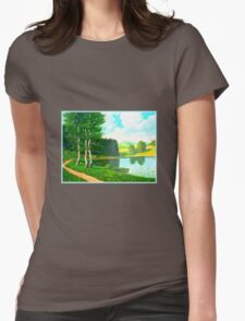 Idyllic landscape with lake Womens Fitted T-Shirt