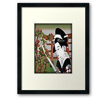 Geisha pruning roses Framed Print