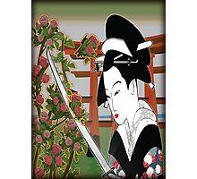 Geisha pruning roses Photographic Print