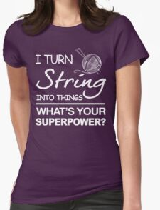 Knitting Crocheting String Womens Fitted T-Shirt