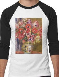 Renoir Auguste - Vase Of Tulips And Anemones Men's Baseball ¾ T-Shirt