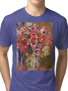 Renoir Auguste - Vase Of Tulips And Anemones Tri-blend T-Shirt
