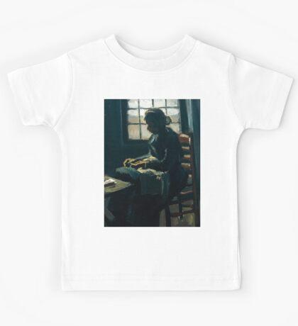 1885-Vincent van Gogh-Woman sewing-34x43 Kids Tee