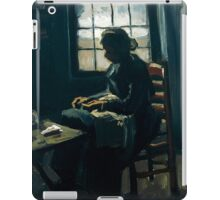 1885-Vincent van Gogh-Woman sewing-34x43 iPad Case/Skin