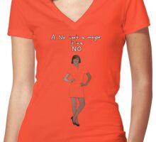 A no isn't a maybe - it is a NO (version 6) Women's Fitted V-Neck T-Shirt