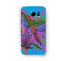 Hummingbird hand drawing bright illustration. Neon colors Samsung Galaxy Case/Skin