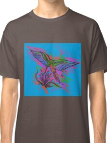Hummingbird hand drawing bright illustration. Neon colors Classic T-Shirt