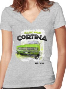 NEW Classic Ford Cortina Men's T-shirt Women's Fitted V-Neck T-Shirt