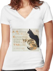 Theophile Alexandre Steinlen - A La Bodiniere Women's Fitted V-Neck T-Shirt