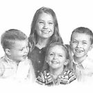 four siblings drawing by Mike Theuer
