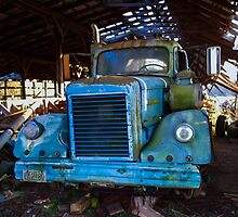 1968 White Diesel in Barn of Evanston Farm by Rusty Gentry
