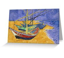 Vincent Van Gogh - Fishing Boats On The Beach Greeting Card