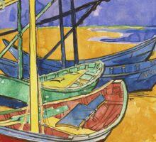 Vincent Van Gogh - Fishing Boats On The Beach Sticker
