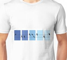 Minimalist Bird Silhouettes on Telephone Wire Unisex T-Shirt