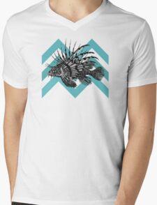 Lionfish Chevron Mens V-Neck T-Shirt