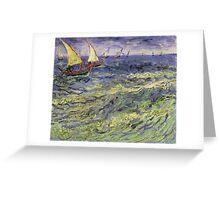Vincent Van Gogh - Seascape At Saintes-Maries View Of Mediterranean .  Seascape. Van Gogh -Seascape Greeting Card
