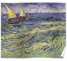 Vincent Van Gogh - Seascape At Saintes-Maries View Of Mediterranean .  Seascape. Van Gogh -Seascape Poster