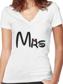 Honeymoon Mr and Mrs T-shirts Women's Fitted V-Neck T-Shirt