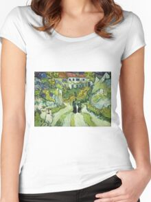 Vincent Van Gogh - Stairway At Auvers  Women's Fitted Scoop T-Shirt